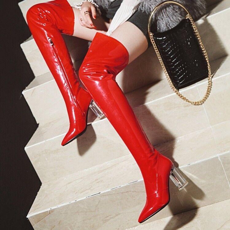 Reino Reino Reino Unido para Mujer Brillante de Cuero muslo la rodilla botas altas tacón alto Bloque Grueso Zapatos de clubes  envio rapido a ti