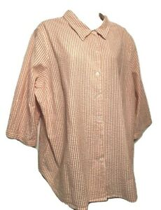 Scandia Woods Women's Blouse Plus 2X Striped 3/4 Sleeve Cotton Button Down Shirt