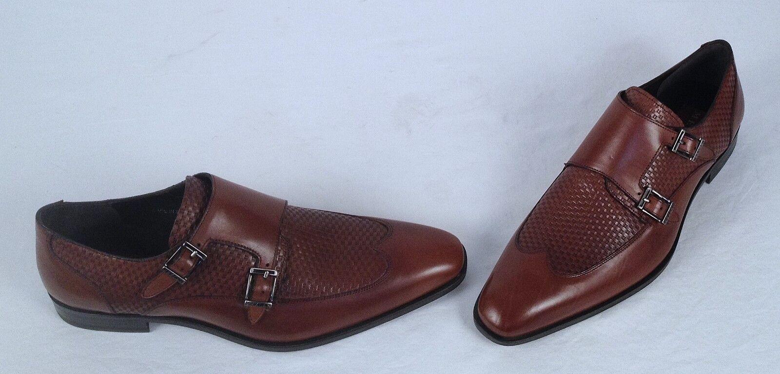 NEW!! Mezlan Woven Vamp Double Monk Strap- Brown- Size 8.5 M   448 (W4)
