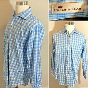 PETER-MILLAR-Blue-Check-100-Cotton-Men-039-s-Shirt-Long-Sleeve-Button-Down-Size-L