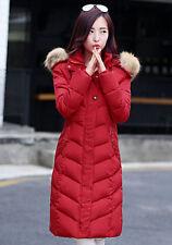 Women's Long Slim hooded red Down coat fur warm padded jacket size M UK 10