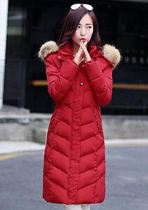 Women S Long Slim Hooded Red Down Coat Fur Warm Padded Jacket Size M