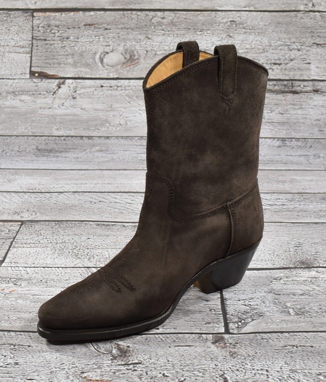 Ralph Lauren lila Label Braun Robust Veloursleder Olin Cowboy Stiefel Neu    | Schönes Aussehen