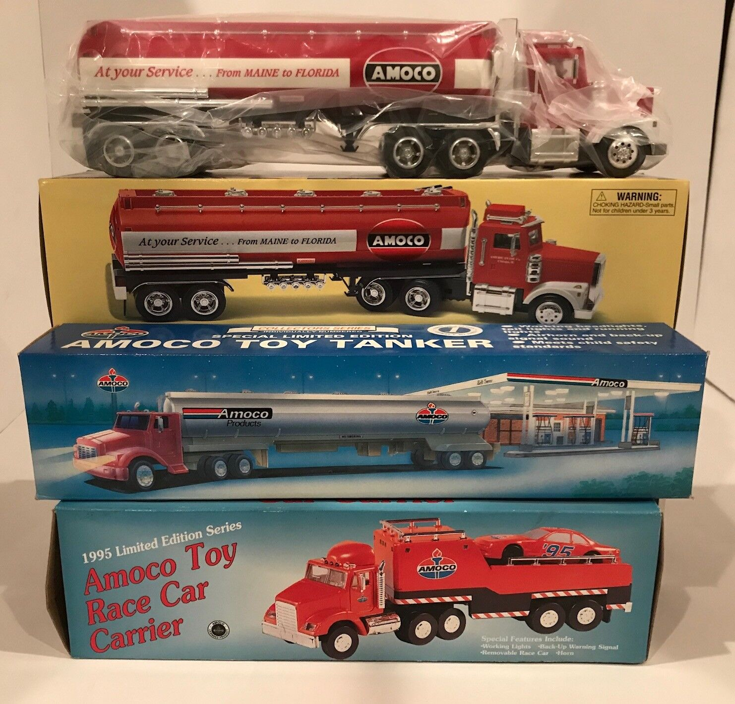 LOT OF 5 TAYLOR TRUCKS 1 32 SCALE AMOCO TOY TANKER  CAR CARRIER  TANKER TRUCK