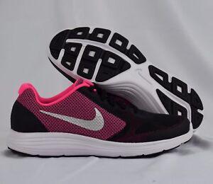 8d565ab45dcd Nike Revolution 3 819416-001 Black Pink White Kids GS Running Shoes ...
