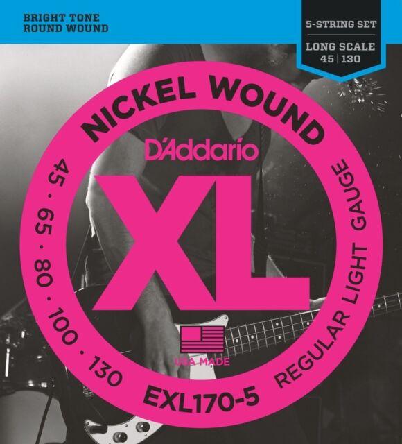 D'Addario EXL170-5 XL Nickel Basse Cordes, Standard Light Jauge 1.5mS - 45-130