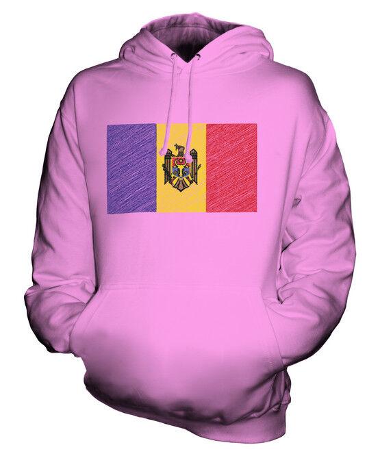 MOLDOVA SCRIBBLE FLAG UNISEX HOODIE TOP GIFT MOLDOVAN FOOTBALL