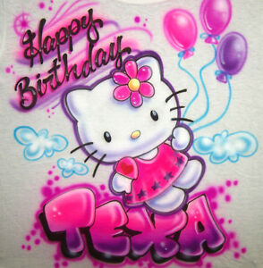 Personalized Hello Kitty Happy Birthday Airbrush T Shirt With Any