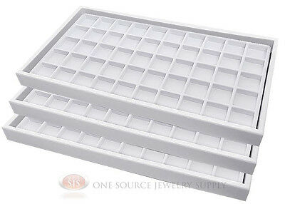(3) White Plastic Stackable Trays w/50 Compartments White Jewelry Display Insert