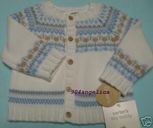 Carters Boys Toy Teddy Cardigan Sweater 6M NWT