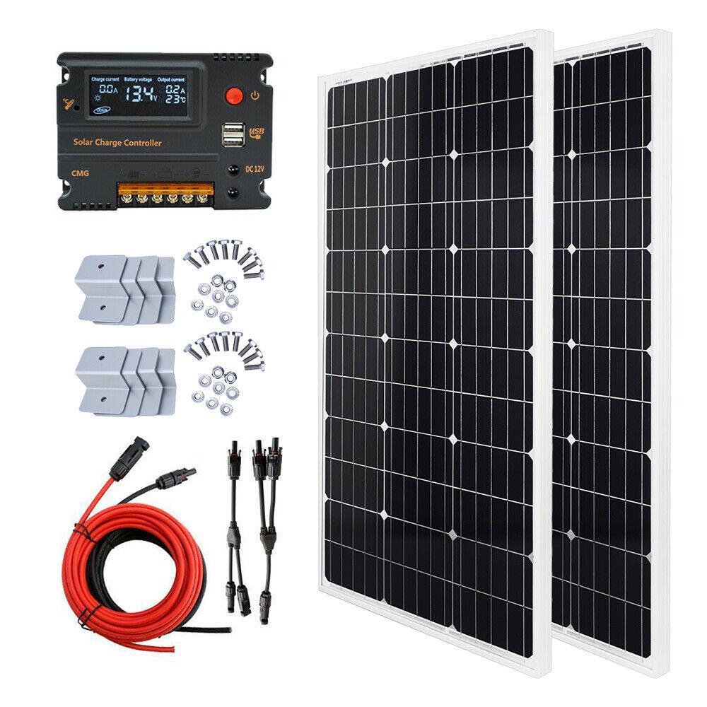 ECO 200W Solaranlage: 2 * 100W Mono Solarpanel + 20A LED Controller