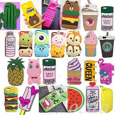 2017 3D Cartoon Soft Silicone Phone Case Back Cover For IPhone X SE 5 6 7 8 Plus