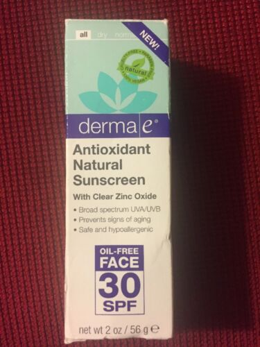 Derma E Antioxidant Natural FACE SPF 30 Sunscreen 2oz clear zinc oxide