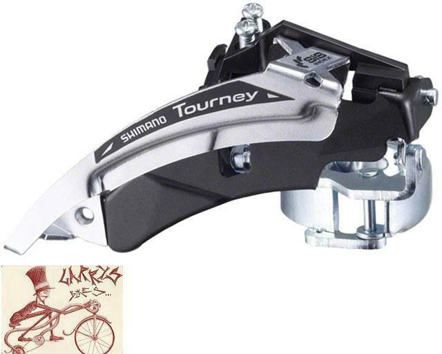 Dual Pull 34.9mm Clamp Shimano Tourney FD-TX51 3 x 6//7//8 Front Derailleur