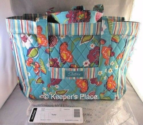 Longaberger SISTERS SUMMER LOVIN Teal Quilted Double Handled Carry On Zipper Bag