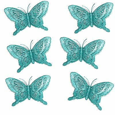 Luxury Christmas Tree Glitter Bauble Decorations - 3D Butterfly x 6 - Turquoise