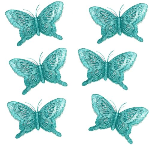 Turquoise 3D Butterfly x 6 Luxury Christmas Tree Glitter Bauble Decorations