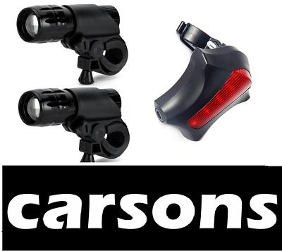 100% Wahr Two Black Front Zoom & Rear Beam Laser 5 Led Bike Lights Set Kit Headlight Flash