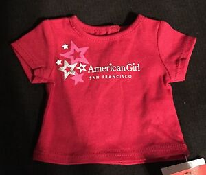 American Girl Red Tee Shirt San Francisco New With Tags 18 Doll