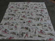Skiing snow trees skier duck egg blue white green remnant fabric piece 95x95cm