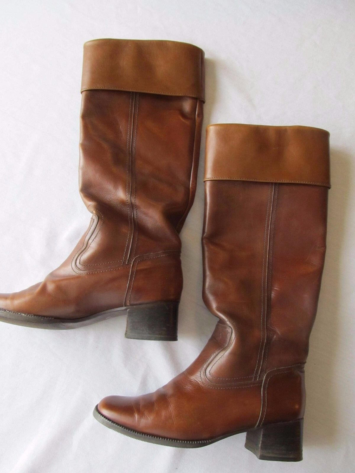 À Manches Longues Ayres Femme Bottes en cuir marron taille 7.5 N Made in France