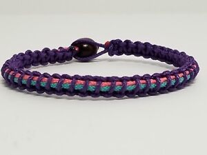 Details About Thyroid Cancer Awareness Purple Teal Pink Custom Sized Microcord Bracelet