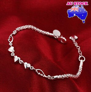 Wholesale-Women-039-s-925-Sterling-Silver-Filled-Ladies-Heart-Charm-Bracelet