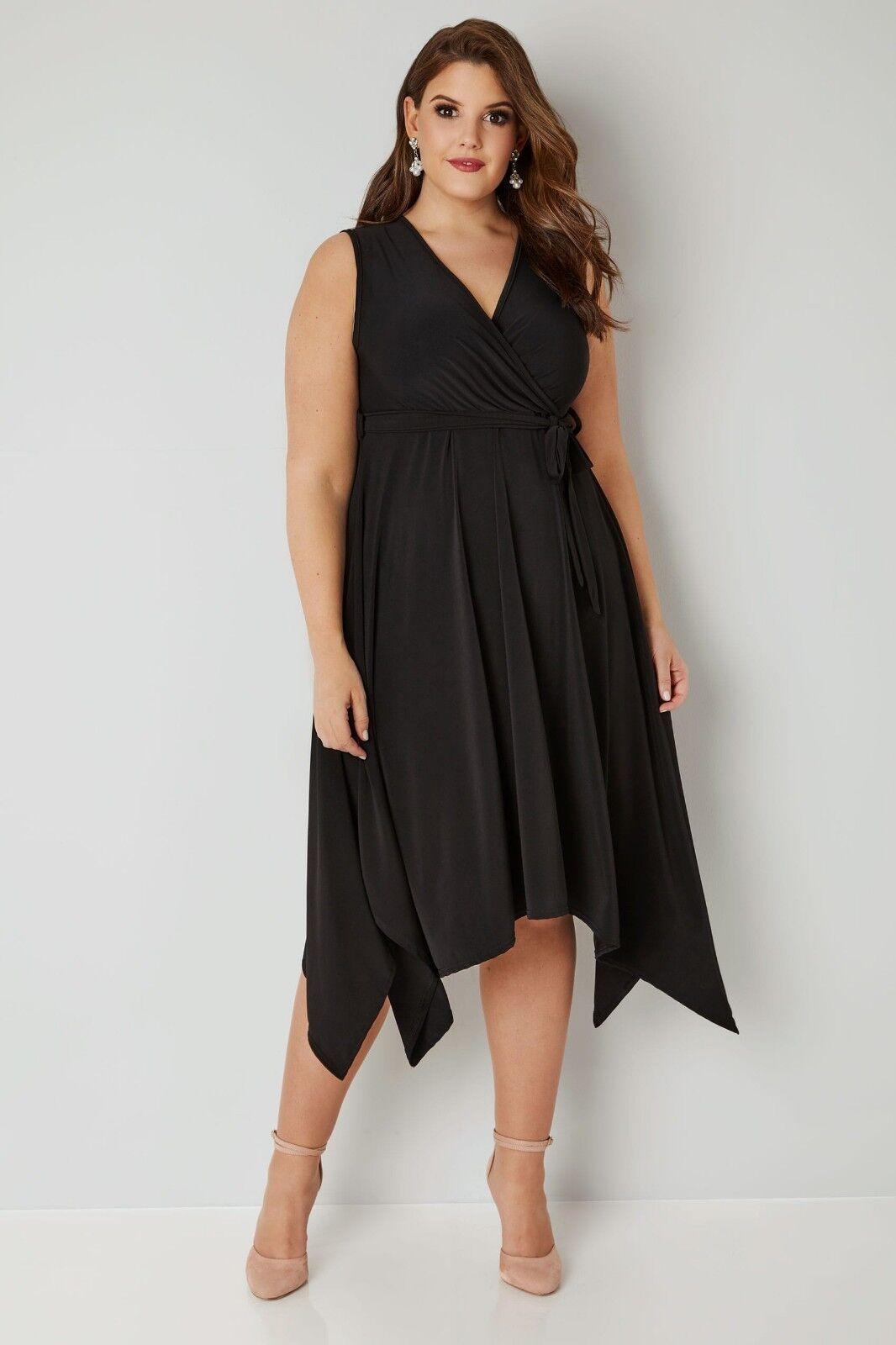 Kleid Gr.52+58 60 Damen Knielang Schwarz Zipfelkleid Stretch Festlich Abendkleid