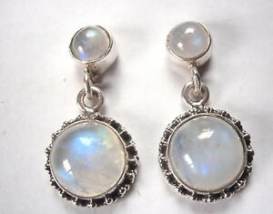 Moonstone-Double-Gem-925-Sterling-Silver-Stud-Earrings-with-Silver-Dot-Accents