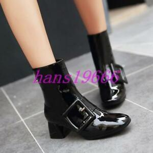 Women-Chunky-Heel-Buckle-Patent-Leather-College-Pointy-Toe-Ankle-Boots-Shoes-sz