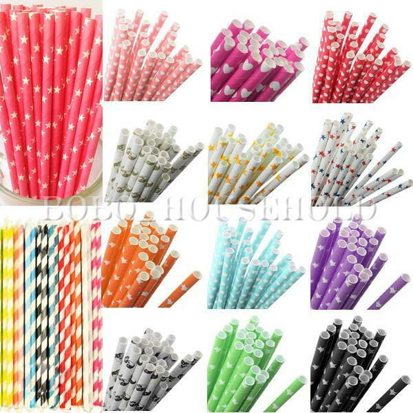 9 Styles 25Pcs Colorful Paper Drinking Straws Vintage Wedding Party Decoration