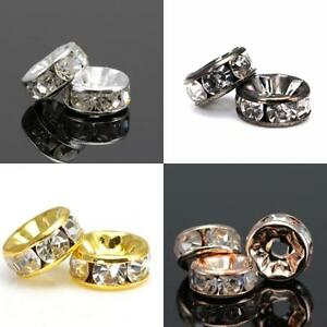Rhinestone-Crystal-Diamante-Silver-Rose-Gold-Plated-Rondelle-Spacers-Beads-AAA
