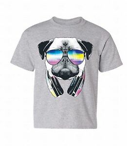 pug shirts for kids pug sunglasses headphones youth t shirt dog head music 9564