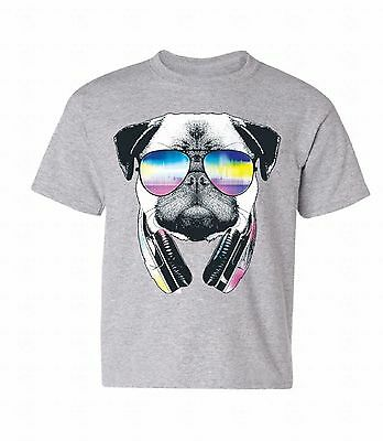 Youth Funny Pug Face T Shirt Hilarious Dog Cute Clever Hipster Tee for Kids
