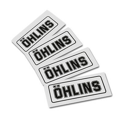 OHLINS replacement clear vinyl decals graphics stickers x 4 pieces WHITE SMALL