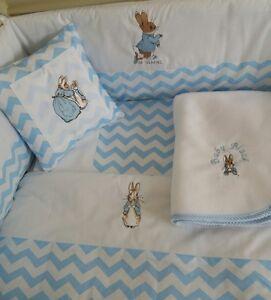 cushion,Fleece Blanket grey and white Peter Rabbit patchwork Cot bedding  set