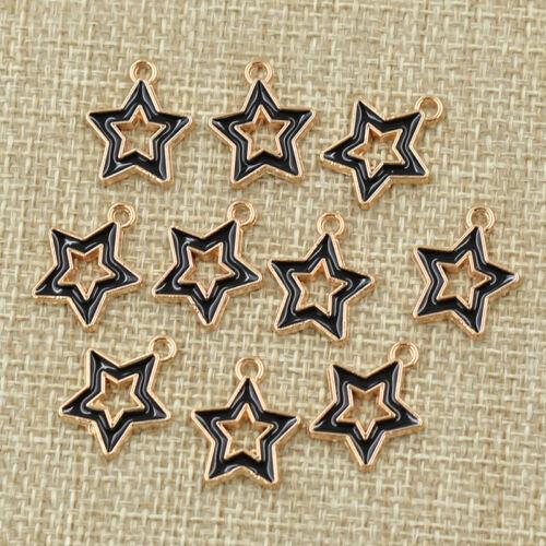 10Pcs Esmalte Colgantes Cruz Bandera Americana Corazón hágalo usted mismo Collar Joyería encanto