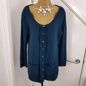 KALIKO-Cardigan-Cashmere-Lambswool-Angora-Buttoned-Pocket-Opal-Green-Size-UK-14