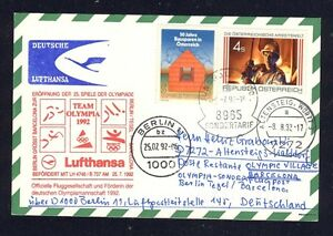 48873-LH-Olympiade-SF-Berlin-Barcelona-25-7-92-Karte-Osterreich-Enklave