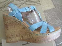 Born B.o.c. Rebel Blue High Heeled Wedge Sandals Womens 10