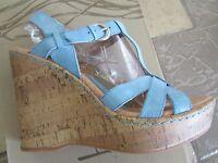 Born B.o.c. Rebel Blue High Heeled Wedge Sandals Womens 10