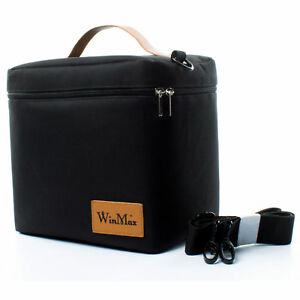 739852f4c7 Winmax Insulated Lunch Bag Cooler Food Thermos Travel Work Women Men Large  Black