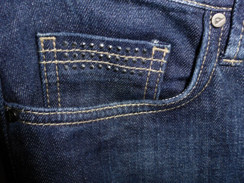 M/&S Portfolio Size 12 Med Slim Bootleg Jeans with Stud Embellised Pockets Indigo