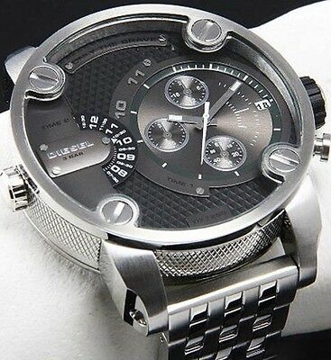 DIESEL DADDY DZ7259 SBA DUAL TIME SILVER GUNMETAL MENS STAINLESS WATCH BRAND NEW