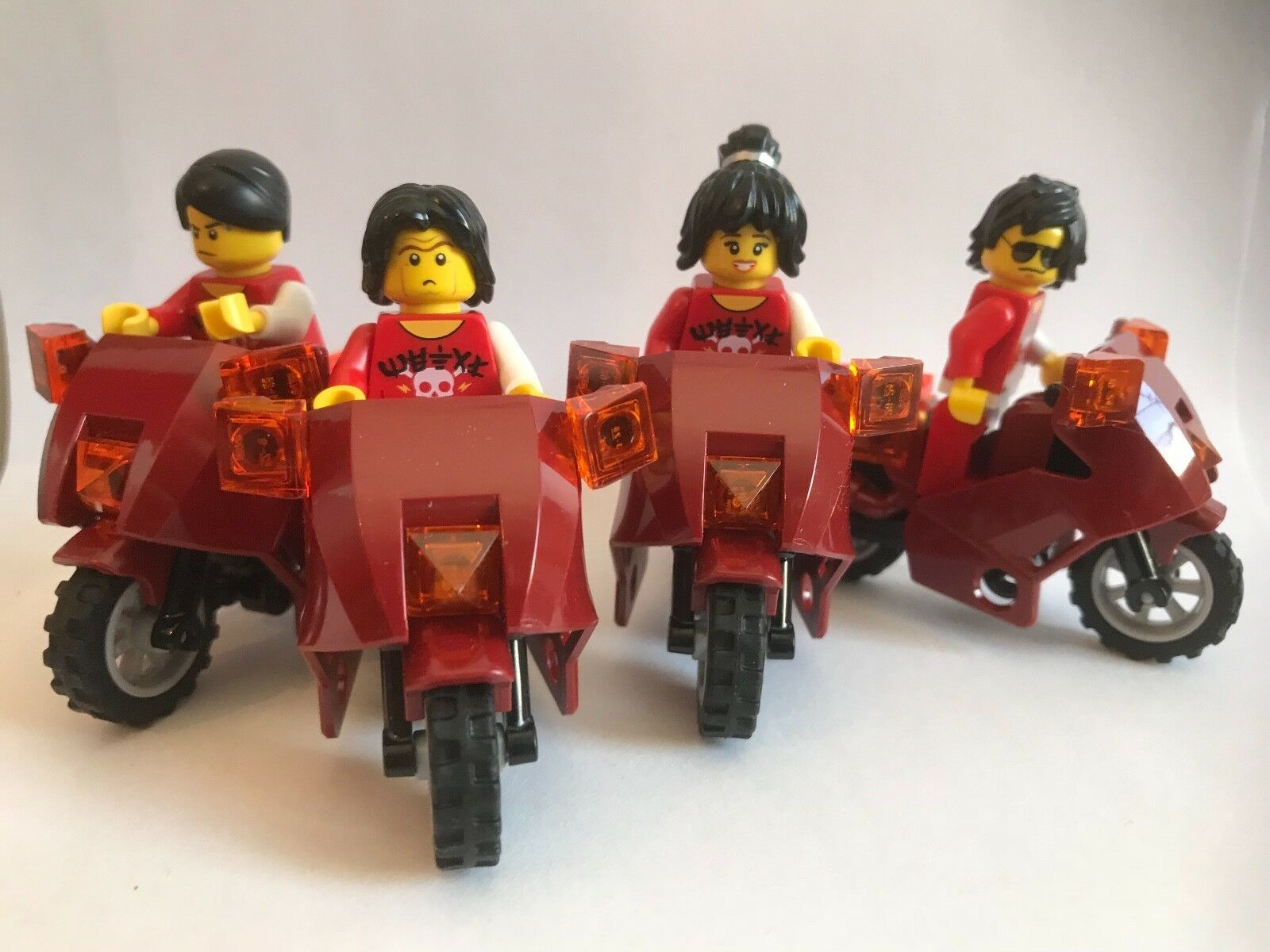 Lego parts only - MOTORCYCLE TOKYO GANG - 4 x DARK RED BIKE (6865) 4 MINIFIGURES