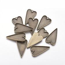 10 x Antique Bronze Vintage Filigree Connector Drop Cabochons  27mm