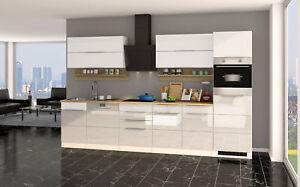 Küchenzeile hochglanz weiss Einbauküche mit Elektrogeräten ...