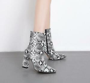 1d83ef41f7 Womens High Heels Pointed Toe Zip Ankle Boots Snakeskin Pattern ...