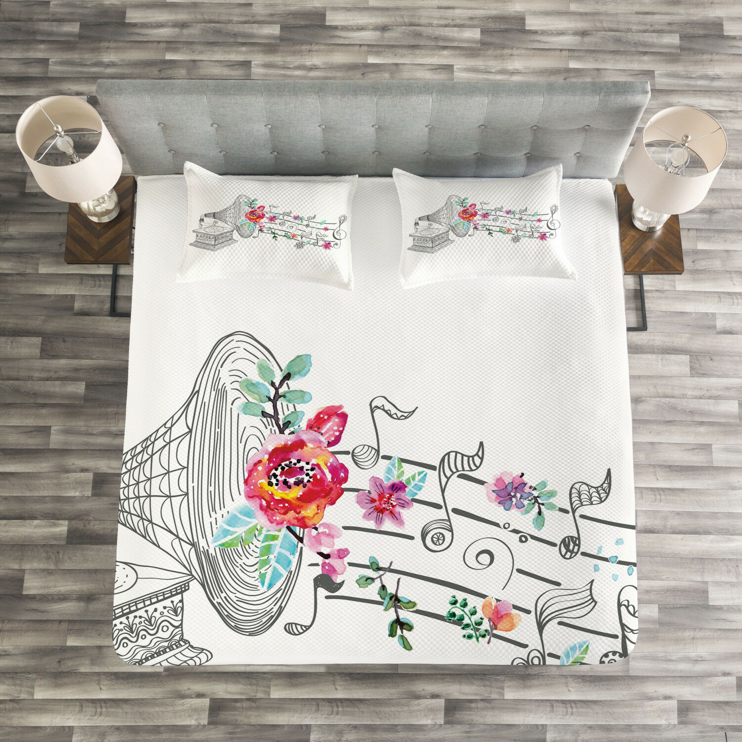 Music Quilted Bedspread & Pillow Shams Set, Old Gramophone Player Print