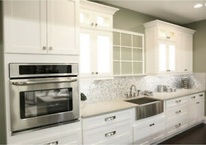 Shaker White Kitchen Cabinets Sample Door Rta All Wood In Stock Ready To Ship Ebay